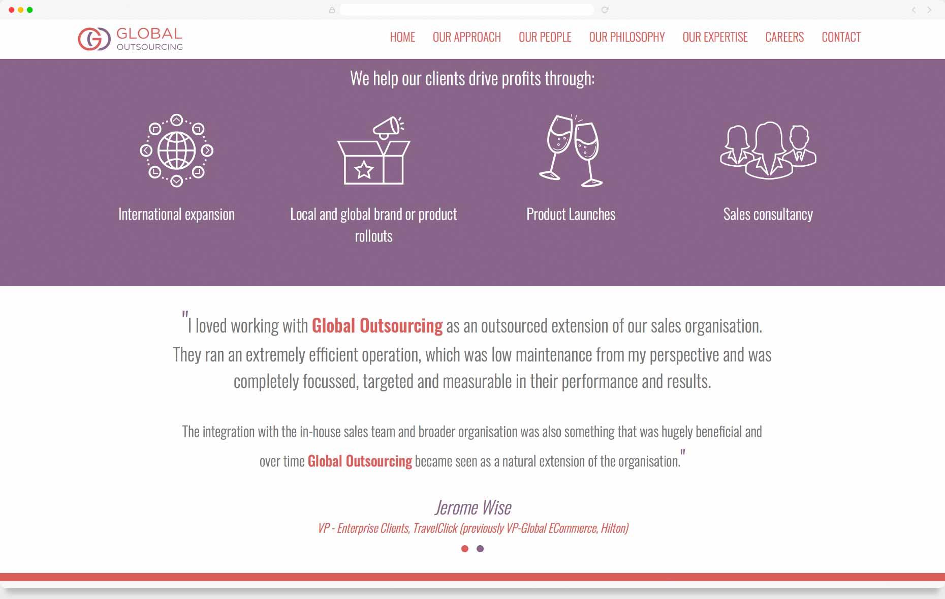 GO ~ Global Outsourcing website : Web Design, Website System
