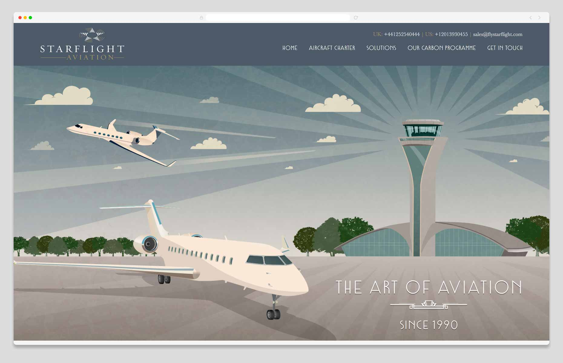 Website Design & Development - Starflight Aviation, Hampshire